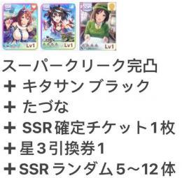 スーパークリーク完凸➕キタサン ブラック➕たづな+SSR確定チケット1枚 即時対応