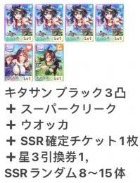 キタサン3凸 +スーパー+ウオッカ+SSRランダム8~15体+  SSR確定チケット1枚 即時対応