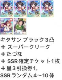 キタサン3凸 +たづな+スーパー+SSRランダム4~10体+SSR確定チケット1枚 即時対応