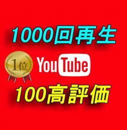 YouTube 再生回数1000回 +100高評価【30日間の減少保証付】